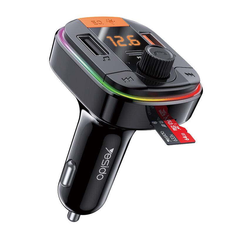 Modulator FM auto Bluetooth Yesido Y45, 2x USB + Type-C 20W, negru