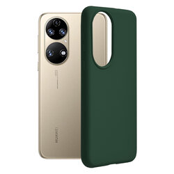 Husa Huawei P50 Techsuit Soft Edge Silicone, verde inchis