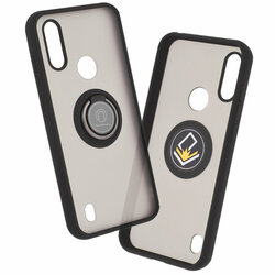 Husa Motorola Moto E6i Mobster Glinth Cu Inel Suport Stand Magnetic - Negru