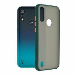 Husa Motorola Moto E6i Mobster Chroma Cu Butoane Si Margini Colorate - Verde Inchis