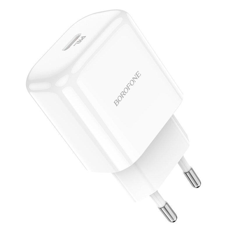 Incarcator USB-C PD20W Borofone BN3, Quick Charge, 3A, alb