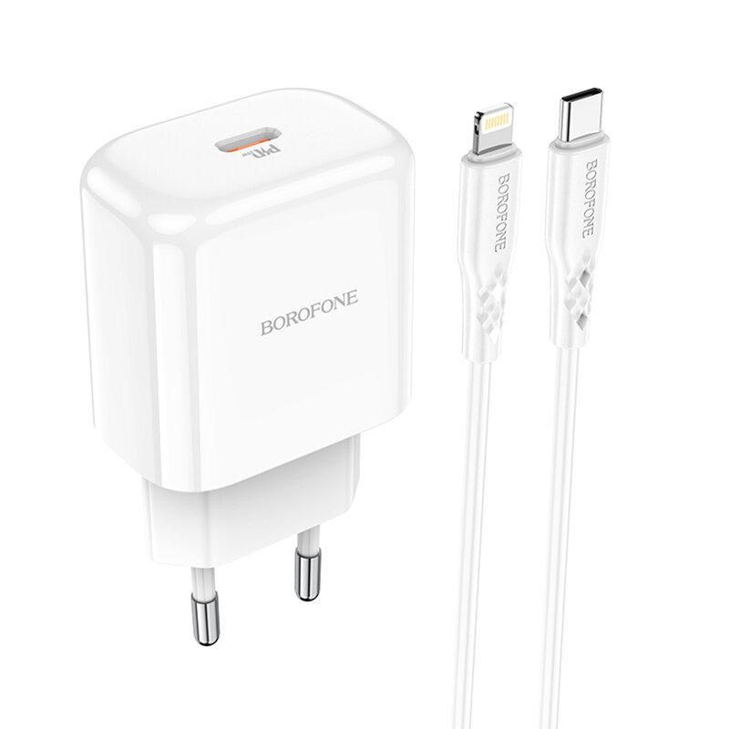 Incarcator USB-C PD20W Borofone BN3 + cablu Lightning, QC3.0, alb