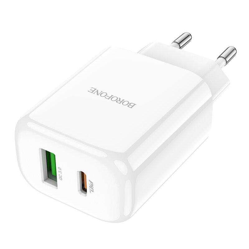 Incarcator priza Borofone BN4 USB QC3.0 18W + Type-C 20W, alb