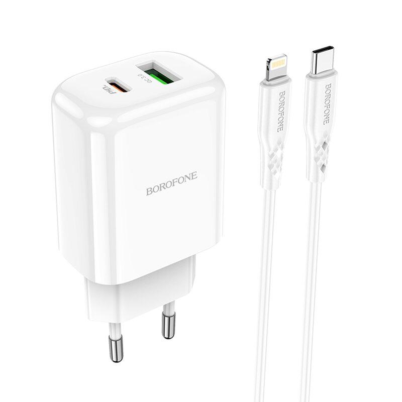 Incarcator Type-C PD20W, USB QC3.0 Borofone BN4 + cablu USB-C la Lightning, alb