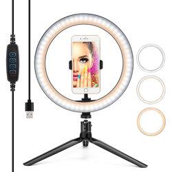 Lampa Circulara Selfie Ring Light LED Cu Trepied / Suport Telefon / Cablu USB - Roz