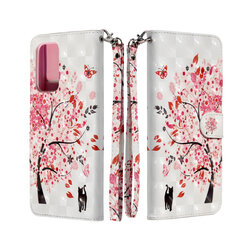Husa flip Samsung Galaxy A72 5G 3D Colored Painting tip carte, pink tree