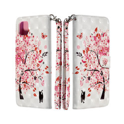 Husa flip Samsung Galaxy A22 5G 3D Colored Painting tip carte, pink tree