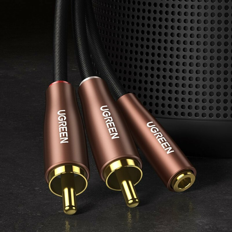 Cablu audio Jack 3.5mm mama la 2x RCA Ugreen, 3m, maro, 60987
