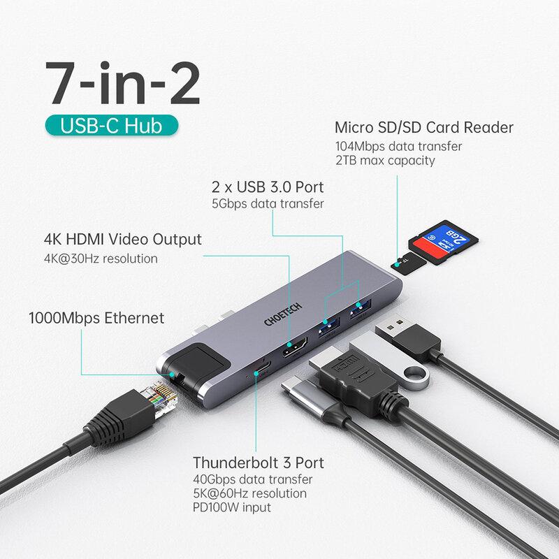Hub MacBook 2x USB-C la PD100W/ HDMI 4K/ 2x USB3.0/ RJ45 Choetech M24