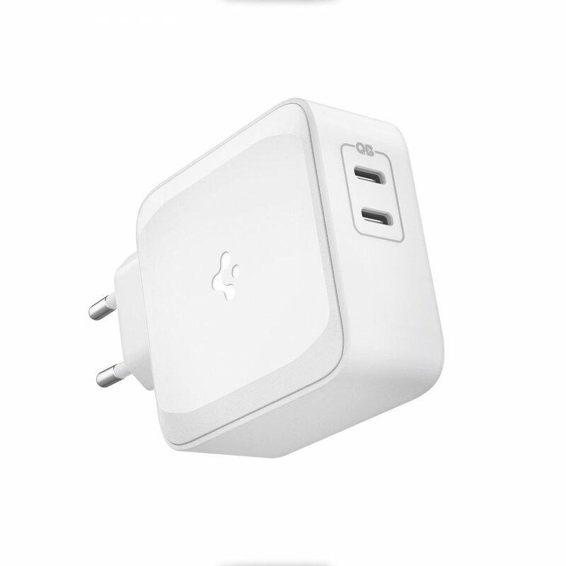 Incarcator priza 2x USB-C Spigen Power Arc, 65W, alb, PE2007EU