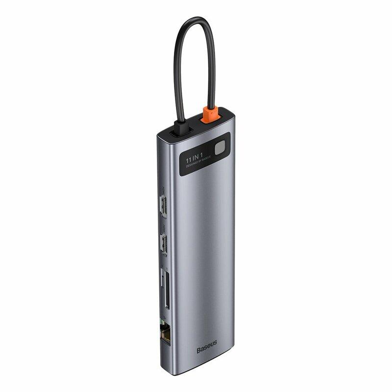Hub USB-C Baseus la 3x USB, Type-C, VGA, 2x HDMI, gri, CAHUB-CT0G