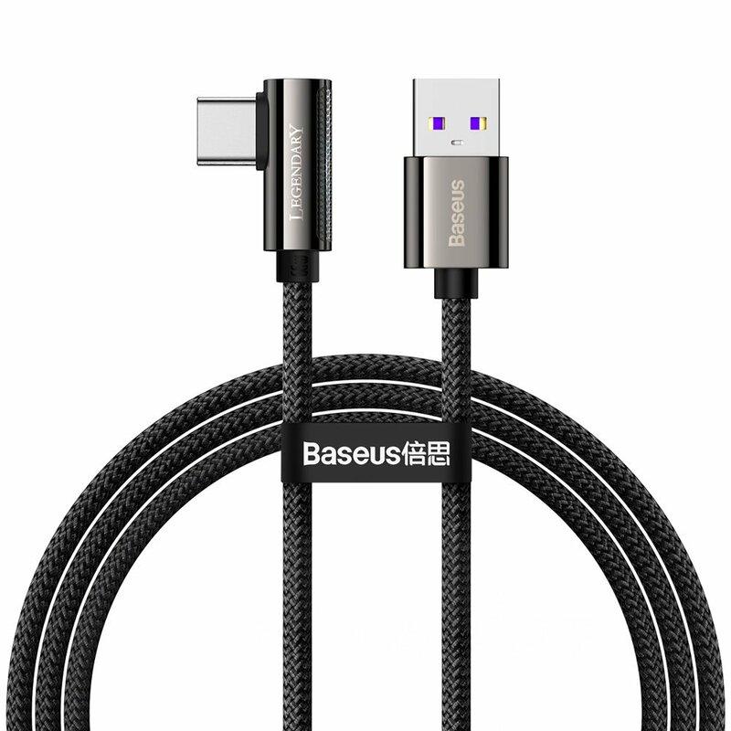 Cablu USB-C 90 grade Baseus Fast Charge 66W, 1m, negru, CATCS-B01