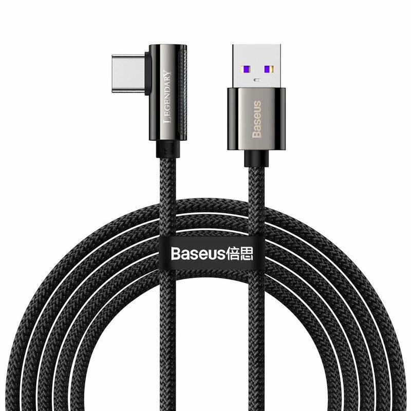 Cablu USB-C 90 grade Baseus Fast Charge 66W, 2m, negru, CATCS-C01