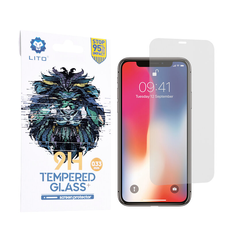Folie Sticla iPhone XS Lito 9H Tempered Glass - Clear