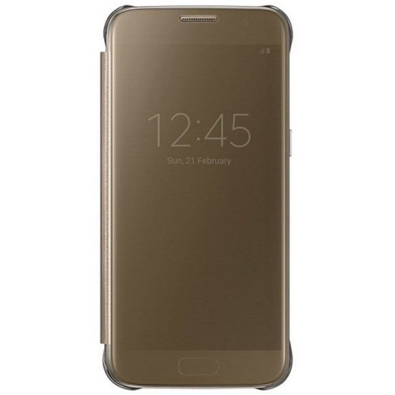 Husa Originala Samsung Galaxy S7 G930 Clear View Cover Auriu