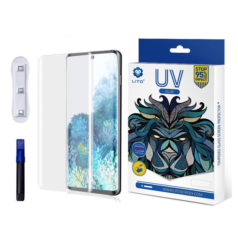 Folie Sticla Samsung Galaxy S20 Plus Lito UV Glue 9H Cu Lampa Si Adeziv Lichid - Clear