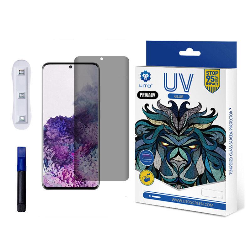 Folie Sticla Samsung Galaxy S20 Plus Lito UV Glue PRIVACY 9H Cu Lampa Si Adeziv Lichid - Clear