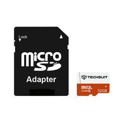 Card memorie 32GB Micro SDHC Techsuit, clasa 10 + adaptor, negru