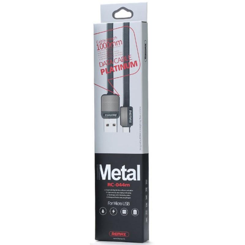 Cablu De Date Flat Micro USB REMAX Metal RC-044M - Negru