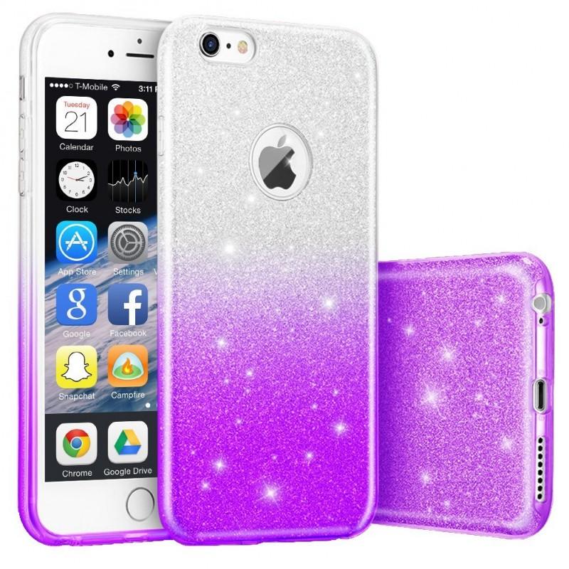 Husa iPhone 7 Gradient Color TPU Sclipici - Mov