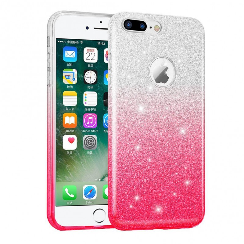 Husa iPhone 7 Gradient Color TPU Sclipici - Roz