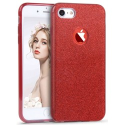 Husa iPhone 7 Color TPU Sclipici - Rosu