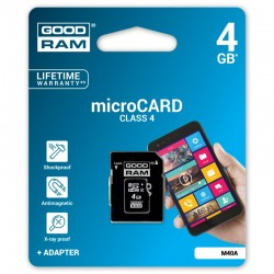 Card de memorie Class 4 MicroSDHC 4 GB Goodram + Adaptor SD