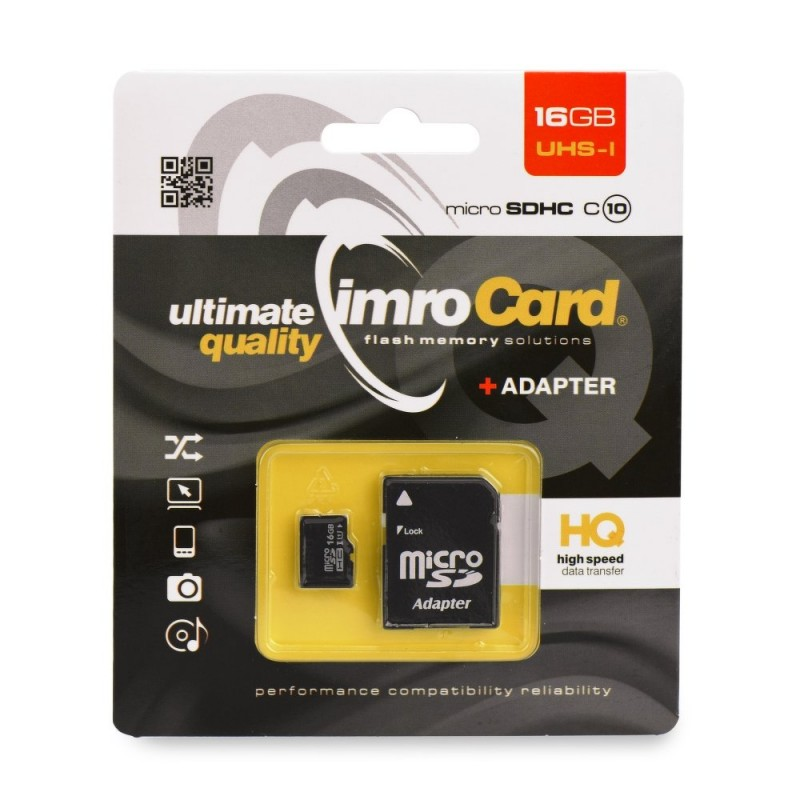 Card de memorie Imro Micro SD-UHS 16 GB Class 10 + Adaptor SD