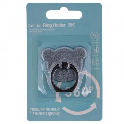 Suport Telefon/Tableta Glitter Bear Ring - Silver