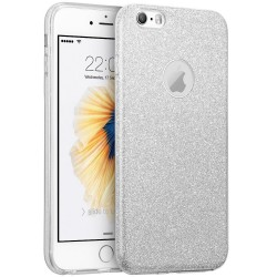 Husa iPhone SE, 5, 5S Color TPU Sclipici - Argintiu