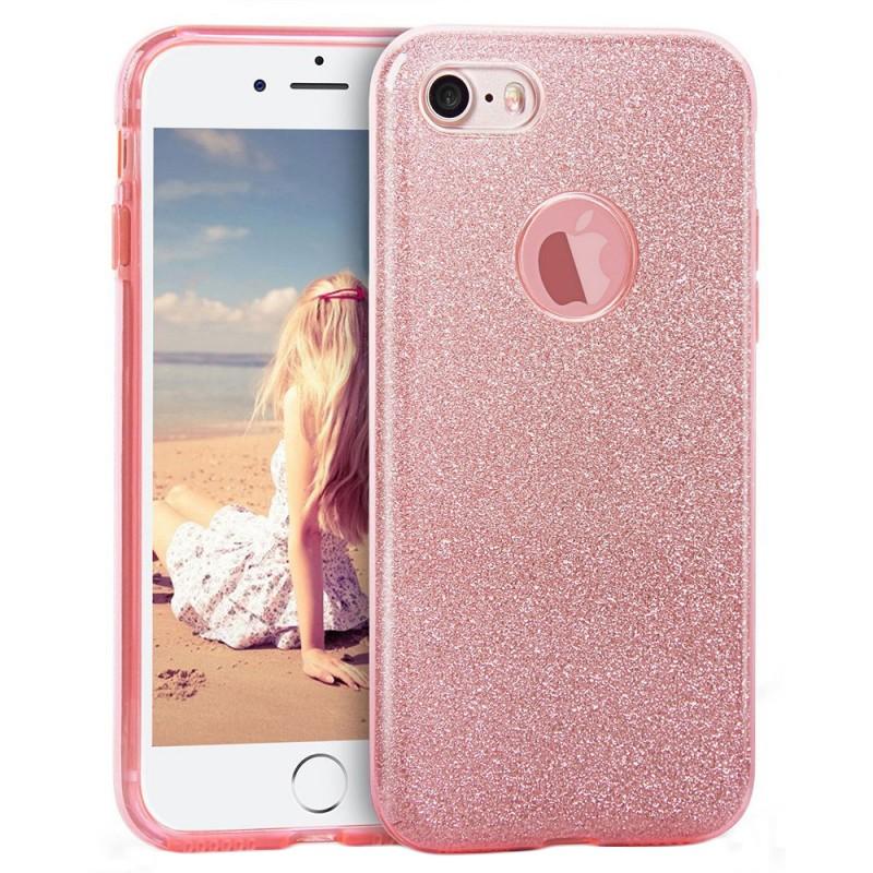 Husa iPhone SE, 5, 5S Color TPU Sclipici - Roz