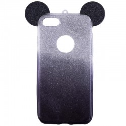 Husa iPhone 4, 4S Color Ears TPU Sclipici - Violet