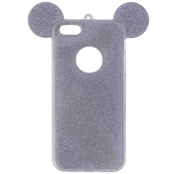 Husa iPhone 4, 4S Color Ears TPU Sclipici - Gri