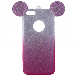 Husa iPhone 4, 4S Color Ears TPU Sclipici - Roz