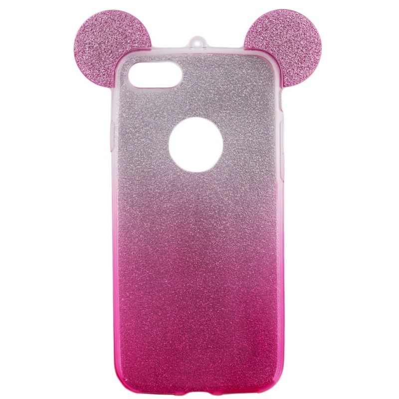 Husa iPhone 7 Color Ears TPU Sclipici - Roz