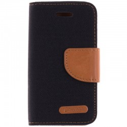 Husa iPhone 4, 4s Book Canvas Negru