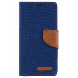 Husa Microsoft Lumia 650 Book Canvas Albastru