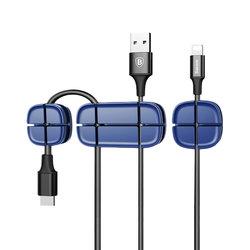 Suport Cable Clip Baseus Cross Peas pentru Birou - Albastru