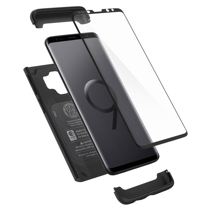 [PACHET 360°] Husa + Sticla Samsung Galaxy S9 Thin Fit SPIGEN - Black
