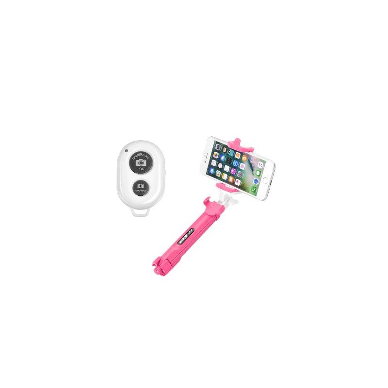 Suport Selfie Tripod Blun Cu Conexiune Wireless - Roz