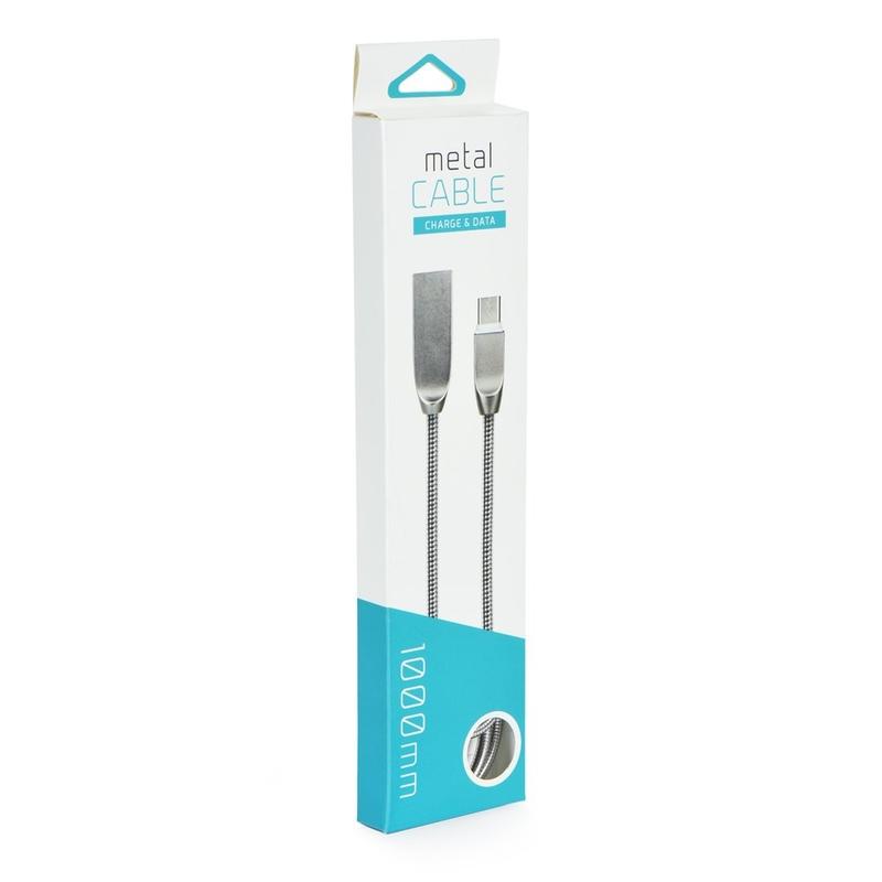 Cablu de date USB-C Metal 1.0M - Argintiu