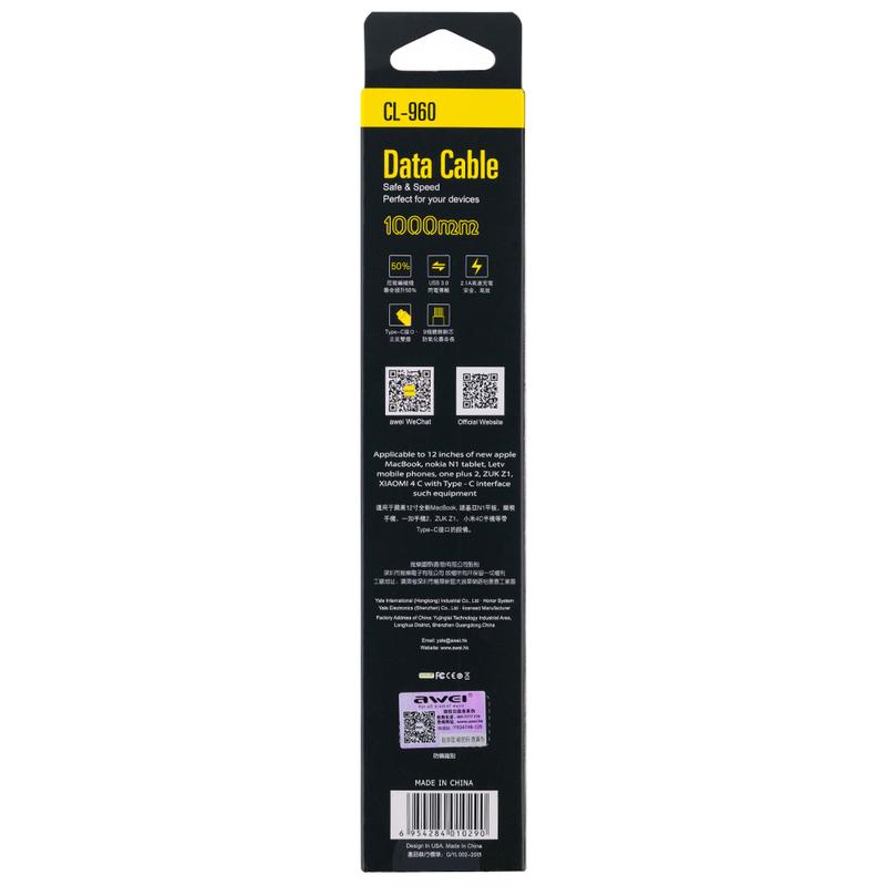 Cablu de date Type-C AWEI CL-960 - Gri
