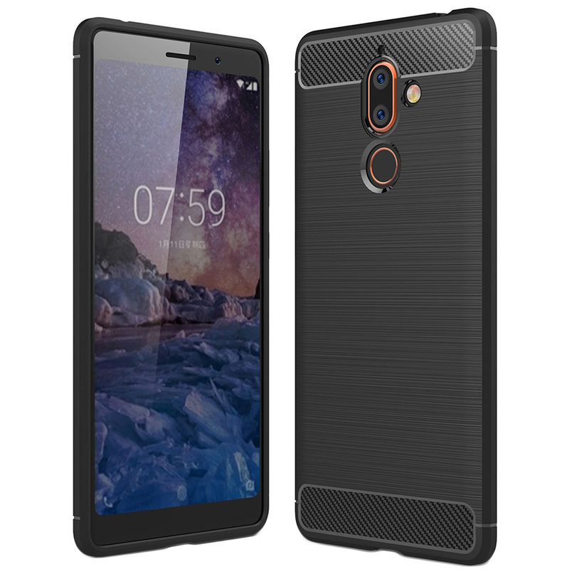 Husa Nokia 7 Plus TPU Carbon Negru
