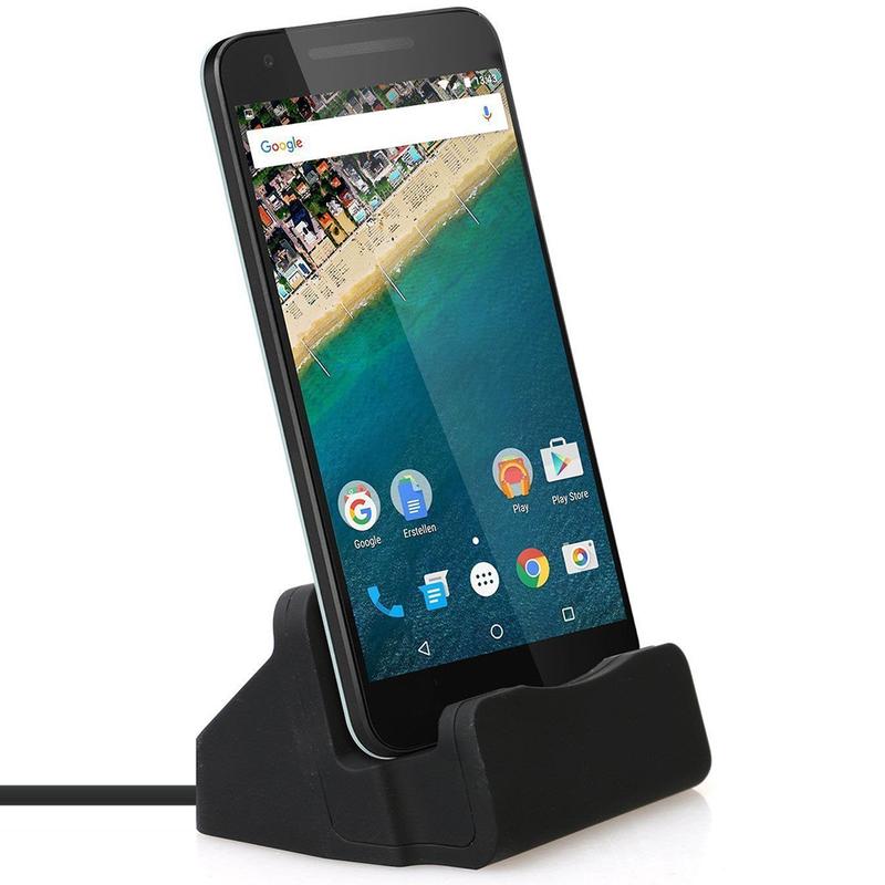 Suport Birou Tip Docking Cu Cablu (Micro-USB) Incorporat - Negru