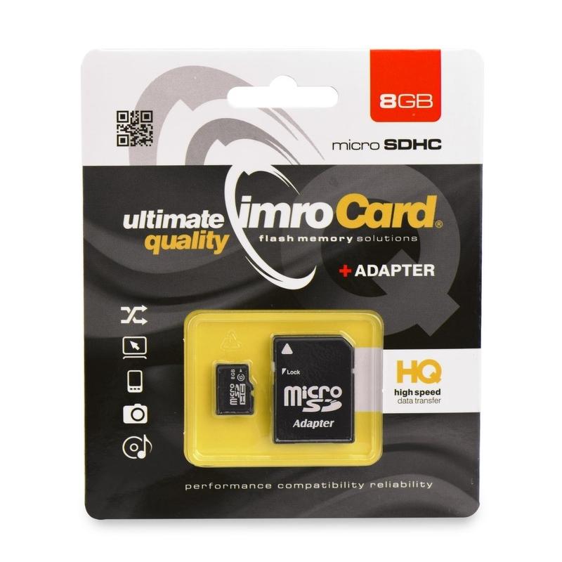 Card de memorie Imro Micro SDHC 8 GB Class 4 + Adaptor SD