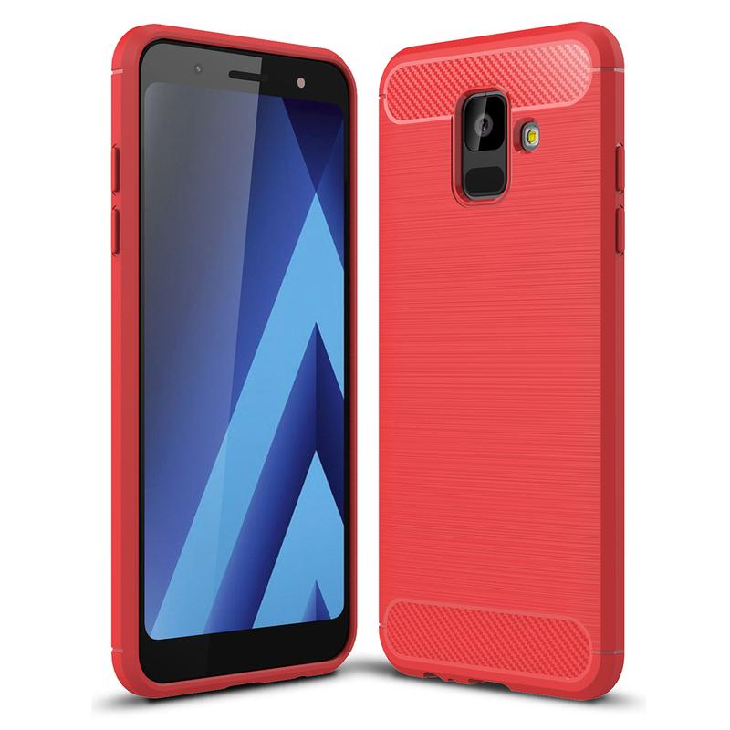 Husa Samsung Galaxy A6 2018 TPU Carbon Rosu