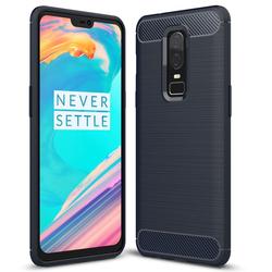 Husa OnePlus 6 TPU Carbon Albastru