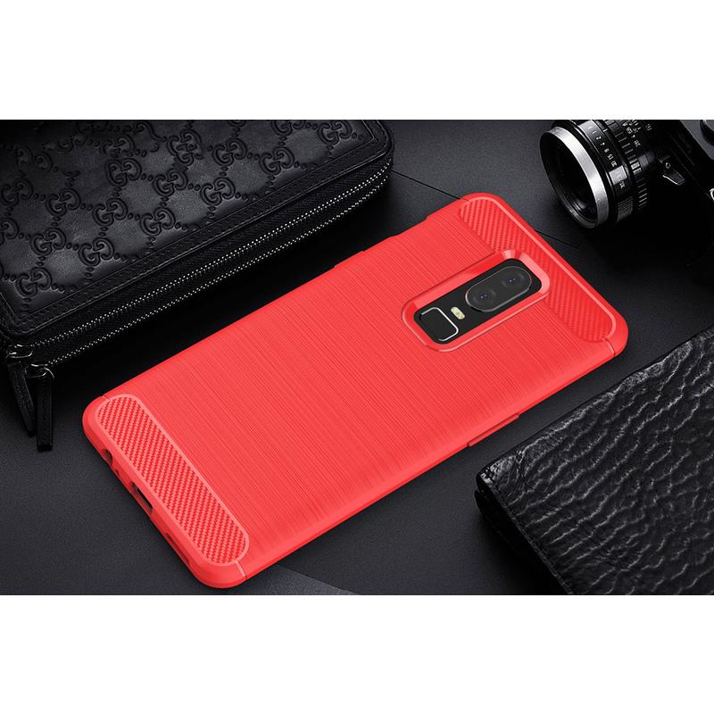 Husa OnePlus 6 TPU Carbon Rosu